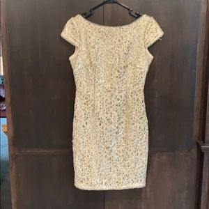 Adrianna Papell Gold Lace & Sequin Dress